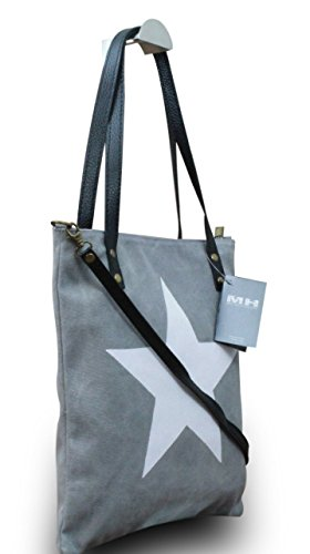 My-Musthave XXL Shopper Canvas-Tasche mit Stern Blogger Schultertasche Canvas, Farbe:Grau Grau