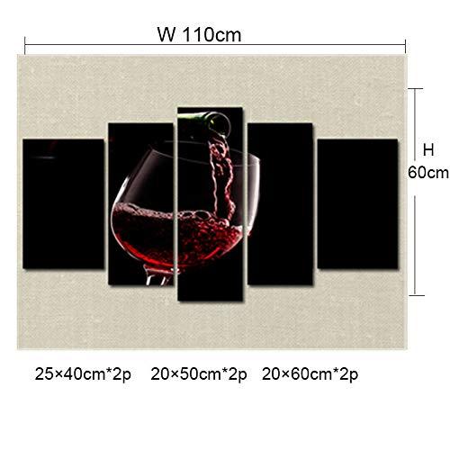 CLOUD Wein Glas Dekorative Wandbilder - Wohnzimmer Esszimmer Wohnaccessoires - Moderne Minimalistische Leinwand Ölgemälde C-5PCS-110×60cm Cloud-wein