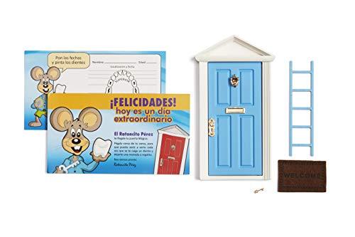 Ratoncito Pérez: Puerta Mágica Azul + Escalera + Felpudo + Llave + Postal de Felicitación + dibujo para anotar y pintar las fechas de los dientes caídos