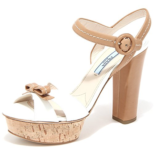 86312 sandalo PRADA VERNICE ST. SAFF scarpa donna shoes women BIANCO/CUOIO
