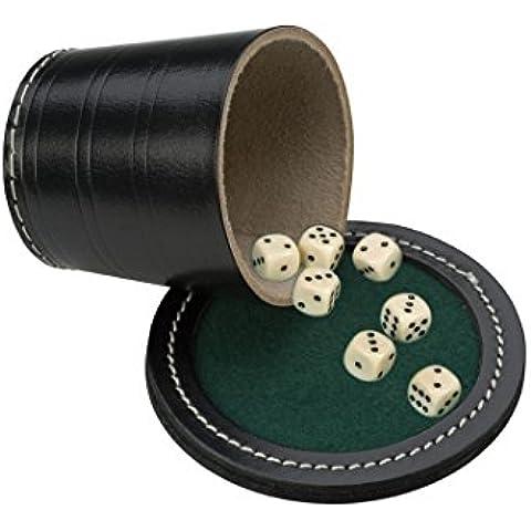 Engelhart H.O. B.V. 3006099cm in pelle nero poker Tazza con coperchio e 18mm 6dadi