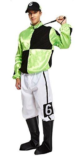 Pferderennen Jockey Kostüm - Herren Erwachsene grün 4 Stück Jockey Pferderennen Uniform Sport Kostüm Kleid Outfit - Grün, Grün, STD