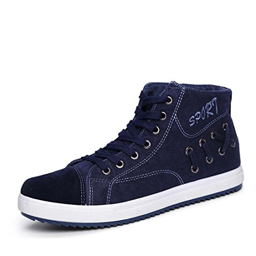 Men's Lace Up Solid Flat High Ankle Canvas Shoes blue