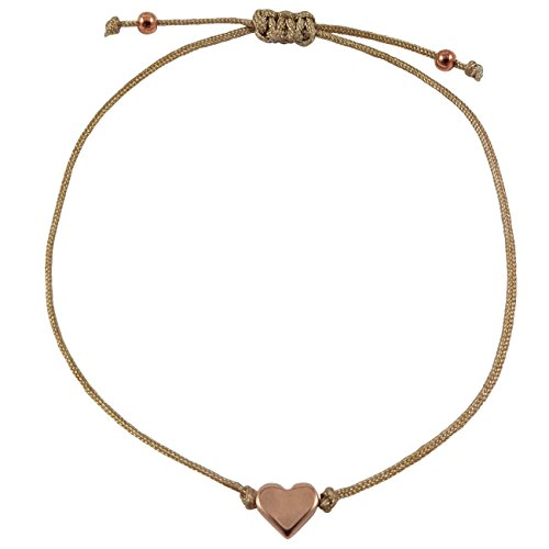 Nilian Damen Armband – Rosegoldenes Herz Armband – Filigranes Frauen Armband - perfekt geeignet als Geschenk – Hochwertiges Textil Armband mit Herzanhänger (champagner) (Kann Frauen Jetzt)