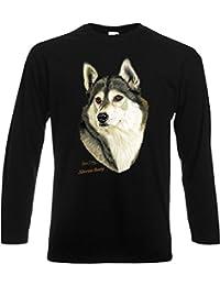 Siberian Husky Sibirischer Husky Hunde Huskies Longsleeve in schwarz