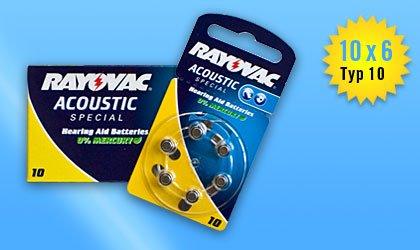 60 St. RAYOVAC 4610 Acoustic 10 - für alle Hörgeräte mit Batterietyp 10