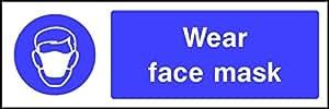 20cm x 6cm Porter Masque Visage (Panneau autocollant étiquette) facture TVA fourni