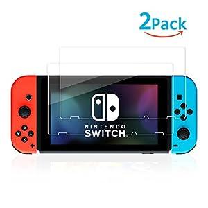 Schutzfolie für Nintendo Switch, NONZERS [2 Stück] Displayschutzfolie, 9H Härte, 99% Transparenz Full HD, Einfache Installation, Passengenau und Hohe Qualität für Nintendo Switch Konsole 2017