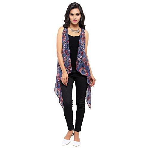 Serein Women\'s Georgette Long Jacket(Multicolour_Medium)