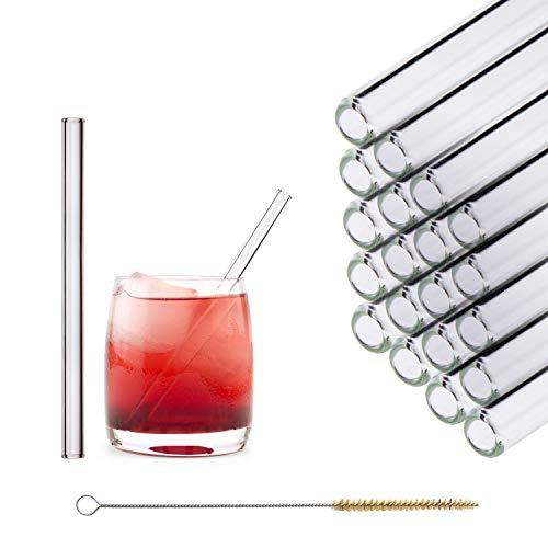 HALM Glas Strohhalme Wiederverwendbar Trinkhalm - 20 Stück kurz gerade 15 cm + plastikfreie Reinigungsbürste - Spülmaschinenfest - Nachhaltig - Glastrinkhalme Glasstrohhalme für Tumbler Cocktailgläser