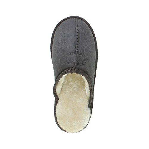 Herren Luxuriös Warm Winter Pelz Gefüttert Gemütlich Geschenk Hausschuhe Pantoffeln Größe Grau
