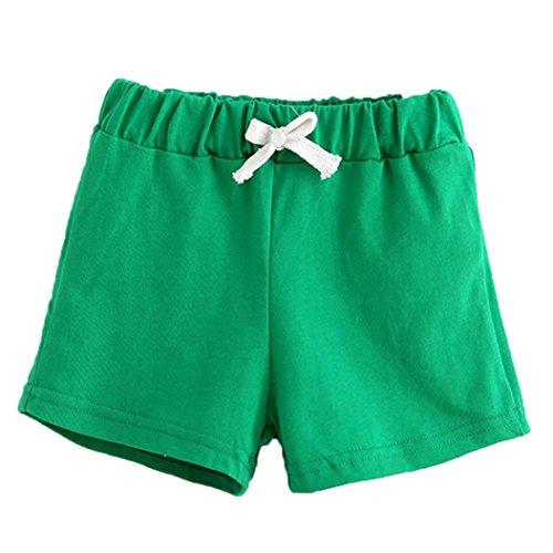 Bekleidung Longra Sommer Kinder Baumwoll Shorts Jungen Und Mädchen Kleidung Baby Mode kurz Sporthosen(2-6Jahre) (110CM 4Jahre, Green) (Kurze Raglan-Ärmel)