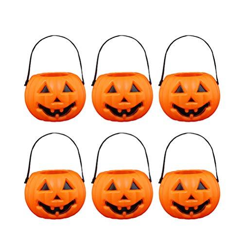 Kürbis Laterne, Mini tragbare leuchtende Kürbis Eimer, LED Kürbis Candy Jar für Festival Halloween (6Pcs) ()