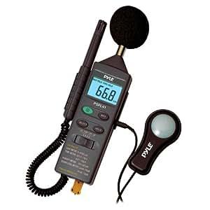Qualité Pyle Sonomètre / Decibelmètre - Luxmètre - Hydromètre - Thermomètre numérique avec affichage LCD. Tout en 1 pour pouvoir mesurer la température, l'humidité, le son et la lumière.