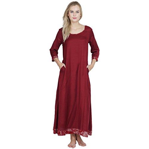371d84d5d6 ... Patrorna Maroon A Line Empire Waist Nighty Nightdress Night Wear Gown  for Women   Girls S