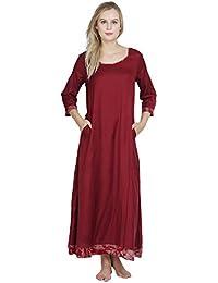 c5dcf84735 Patrorna Women s A-Line Empire Waist Maternity Nighty Night Dress Gown in  Maroon (