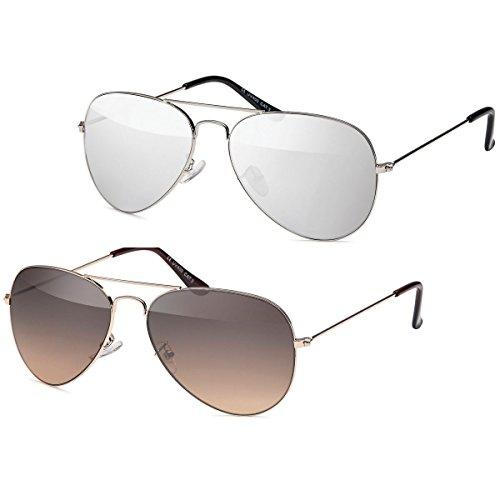 Kaiser-Handel 2x Sonnenbrille Pilotenbrille Aviator Unisex Sonnen Brille -PL10 (Set)
