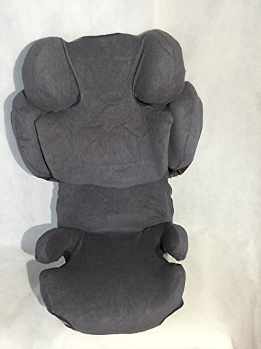 Sommerbezug Schonbezug für Cybex SOLUTION Z-Fix Frottee 100% Baumwolle dunkelgrau
