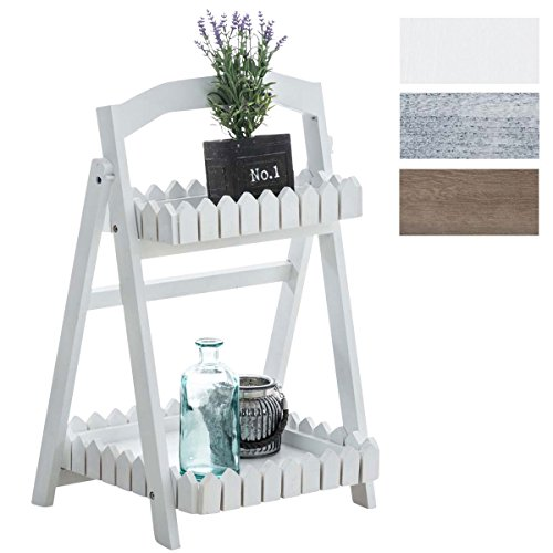 CLP Scaffale a scaletta PETEr, scaffale, scaffale in legno, scaffale decorativo, scaffale portapiante, 2 ripiani, pieghevole. bianco
