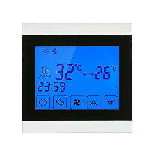 Anself - 220-230V Termostato Programable de Aire Acondicionado 2-Tubo con Táctil LCD Pantalla para Control de Temperatura