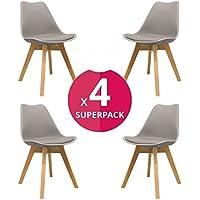 KunstDesign Nordic Chair (Pack 4) - Skandinavischer Stuhl Grau - Mona - (Wählen Sie Ihre Farbe)