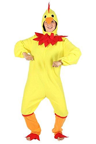 Foxxeo gelbes Hühner Kostüm für Damen - Größe S bis XXL - Huhnkostüm Hühnerkostüm Huhn Hahn Vogel Henne Herren gelb Größe (Huhn Vogel Kostüm)