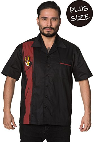 Verbotene Ellie Herren PLUS GRÖSSE Rockabilly Vintages Hemd - Black / 4XL