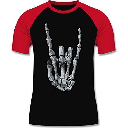 Shirtracer Metal - Metal Horns Skelett Hand - Herren Baseball Shirt Schwarz/Rot