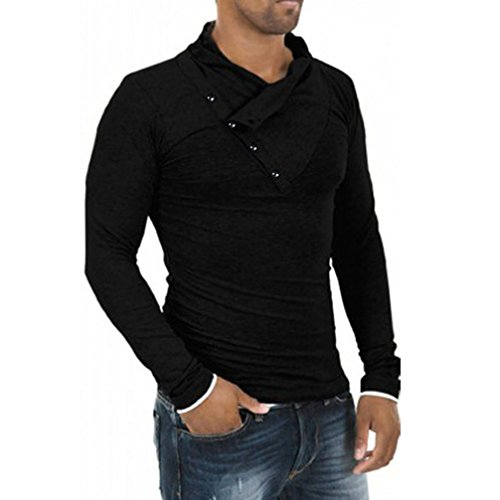 Herren Langarm Bluse, Kingwo Mans Herbst Tops Stilvolle Slim Fit Mode Lässig T-shirts Polo Shirt Tee (L, Schwarz)