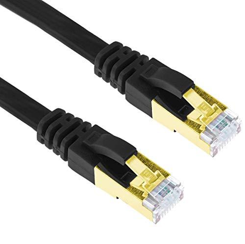 G-Shield 10m Cat7 Ethernet LAN Kabel 10 Gigabit 600MHz RJ45 Flachkabel - 10 Meter Schwarz Flat Component-video-kabel