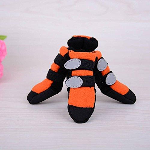 Hund Anti-Rutsch-Schuhe, Suede Verschleißfeste Skid-Proof Dog Boots Runde Kopf Velcro Protector Soft Sohlen Schuhe 4 Stück Große Hund Sportschuhe 2 Farbe & 6 Größe ( Color : Orange , Size : 60# )