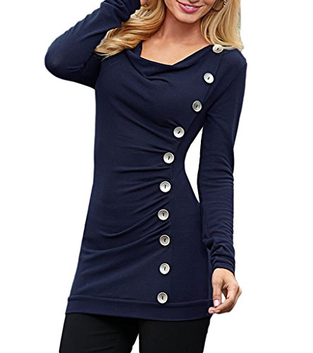 Smile YKK Top Manches Longues Femme T-shirt Chemise Blouse Haut Pull pour Printemps Automne Bleu