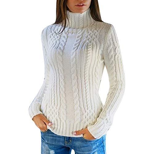 Felpe donna, hanomes, donna, manica lunga, collo alto, pullover, maglione lavorato a maglia, maglione