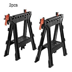 Juego de 2 caballetes de construcción de trabajo portátiles de plástico plegable con soporte para herramientas de trabajo, abrazadera para sierra de caballo, estante integrado y ganchos para cables