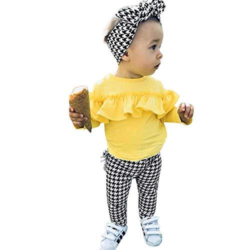 Oyedens Kinder Langarm Volltonfarbe Rüschenoberteil + Karierte Hose + Haargurt-Set Kleinkind Baby Langarm Solide Rüschen Tops + Karierte Hose + Stirnband Outfit Kleidung ()