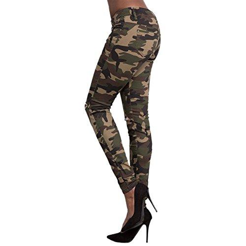 LAEMILIA Femmes Pantalons Taille Haute Camouflage Imprimé Leggings Stretch Skinny Sexy Sport Casual Pants Multicolore
