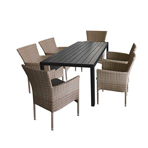Ensemble de jardin 7 pièces table en aluminium et polywood 205x90 cm noir + 6 x Fauteuil en rotin synthétique couleur naturel, empilable avec 6 x coussin gris