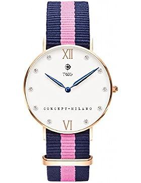 Armbanduhr TWIG Klee Wei§ Navy-Rosa Jahrgang Klassisch