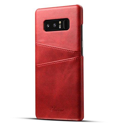 Preisvergleich Produktbild 12shage Fall Karten Schlitz Leder Kasten Für Samsung Galaxy Note 8 (Rot)
