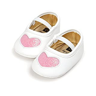 Auro Mesa Newborn Baby Girls Sweet Cute Heart Shoes First Walking Shoes (6-12M, Pink)