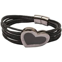Lentejuelas negro esmalte pulsera de corazón con cordón y cierre magnético - en bolsa regalo