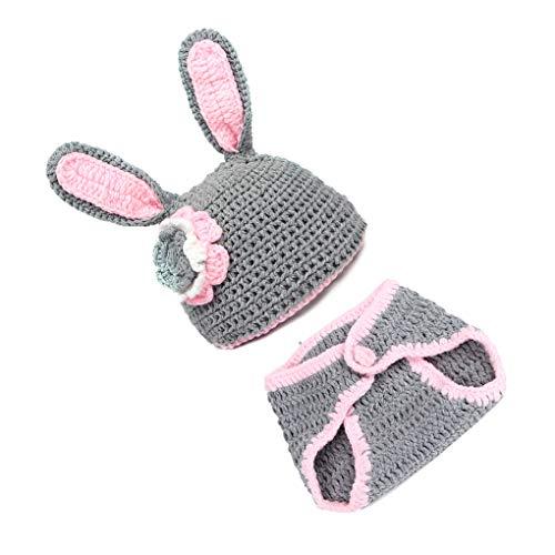 Flushzing 2pcs / Set Neugeborene Fotografie Anzug Nettes Tieres geformt Hut Outfit mit kurzen Hosen Kostüm Winter-Baby-Foto-Props Kleidung ()