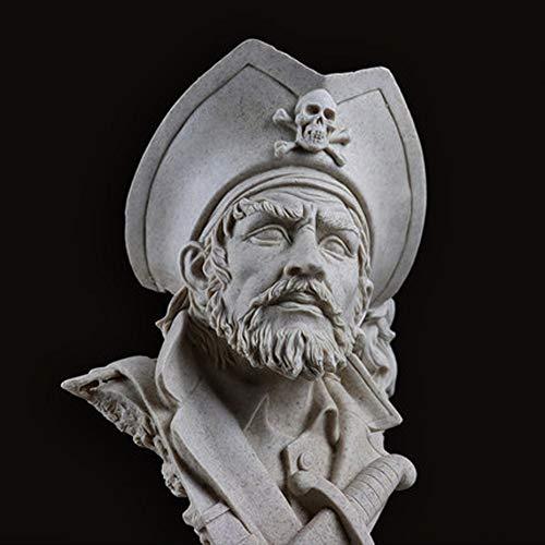 unst Sandstein Skulptur Piraten Thema Dekor handgefertigte handgemalte Tischplatte Figur Akzent einzigartige Geschenk Souvenir / 7.87x5.12x12.3inches ()