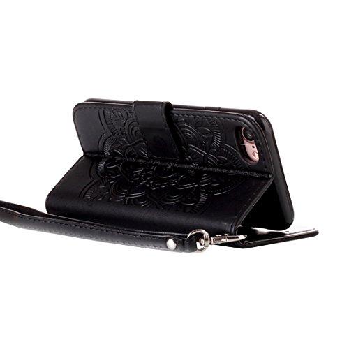 iPhone 7 Cover Pelle Portafogli con Schede Slot Magnetica Flip Chiusura Libro Stile Supporto Funzione HuaForCity® iPhone 7 Case Leather Wallet with Cards Slot Magnetic Flip Closure Book Style Support  B-Nero