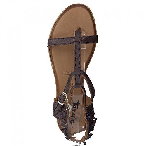 Tamaris Femmes Thong Sandal 1-28128-26-306 choco, Taille 37-41, plein sellerie cuir, semelle Touch`it braun