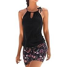 Vestido mujer verano Mini vestido casual sin mangas de playa de impresión retro de mujeres vestido de playa niña Vestido de fiesta Vestir Ropa Falda Chaleco Camisetas Amlaiworld