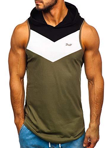BOLF Herren Tank-Top Rundhalsausschnitt Muskelshirt Aufdruck Print Motiv Täglicher Stil J.Style 100733 Weiß M [3C3]