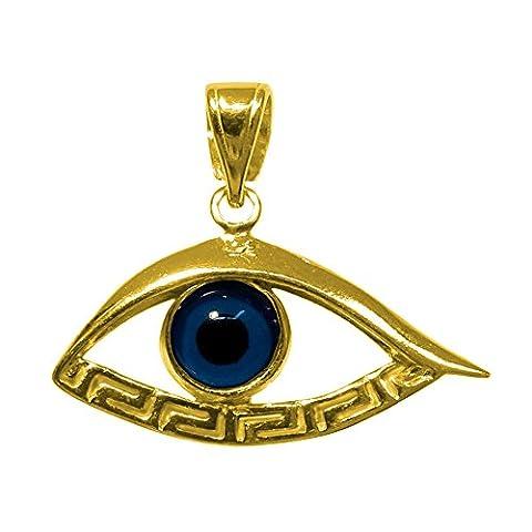 En argent sterling 925–plaqué or 18carats Overlay Evil Eye
