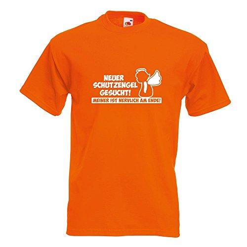 KIWISTAR - Neuer Schutzengel gesucht! Guardian Angel T-Shirt in 15 verschiedenen Farben - Herren Funshirt bedruckt Design Sprüche Spruch Motive Oberteil Baumwolle Print Größe S M L XL XXL Orange