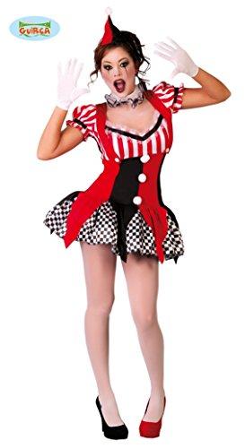 sexy kurzes Clown Kostüm für Damen Gr. S/M, (Kostüm Schwarze Rote Und Clown)